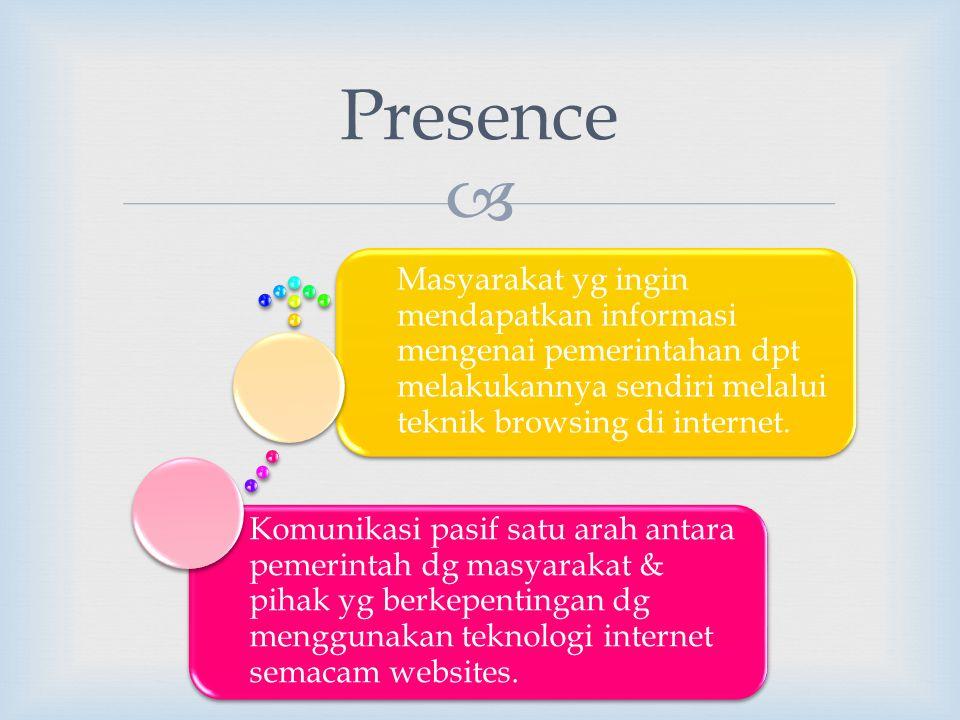 Presence Komunikasi pasif satu arah antara pemerintah dg masyarakat & pihak yg berkepentingan dg menggunakan teknologi internet semacam websites.