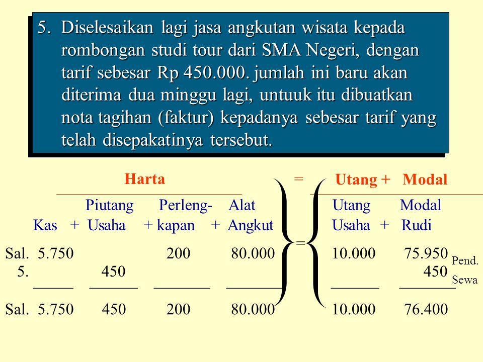 5. Diselesaikan lagi jasa angkutan wisata kepada rombongan studi tour dari SMA Negeri, dengan tarif sebesar Rp 450.000. jumlah ini baru akan diterima dua minggu lagi, untuuk itu dibuatkan nota tagihan (faktur) kepadanya sebesar tarif yang telah disepakatinya tersebut.