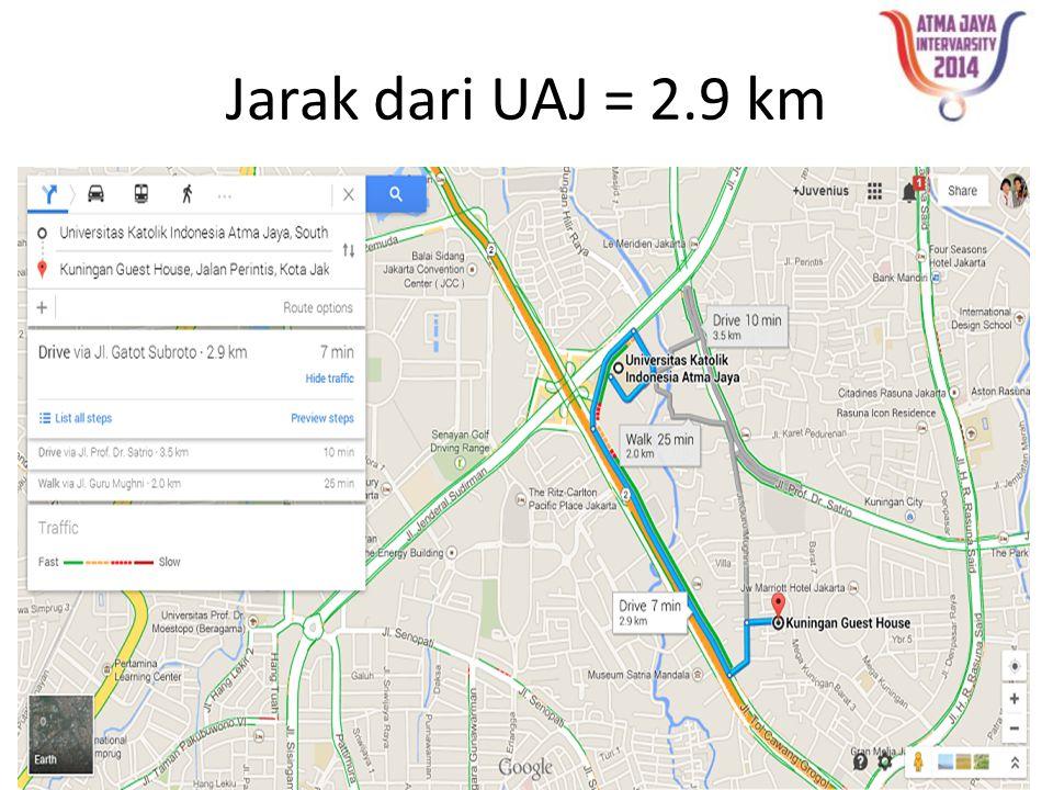 Jarak dari UAJ = 2.9 km