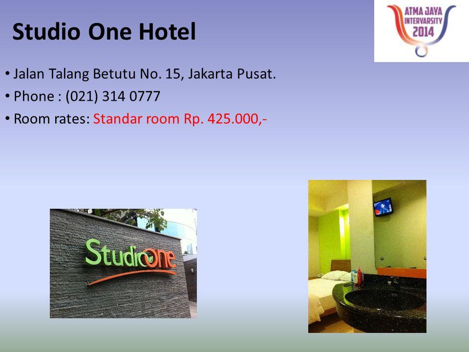 Studio One Hotel Jalan Talang Betutu No. 15, Jakarta Pusat.