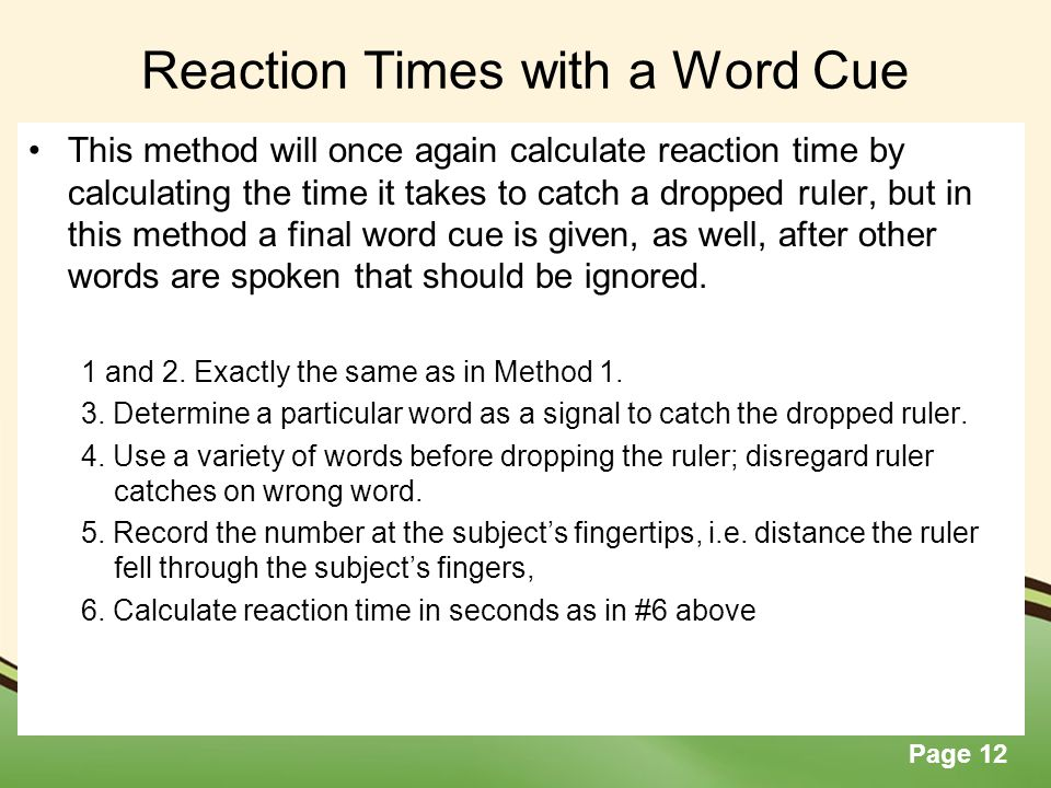 Reaction Times with a Word Cue
