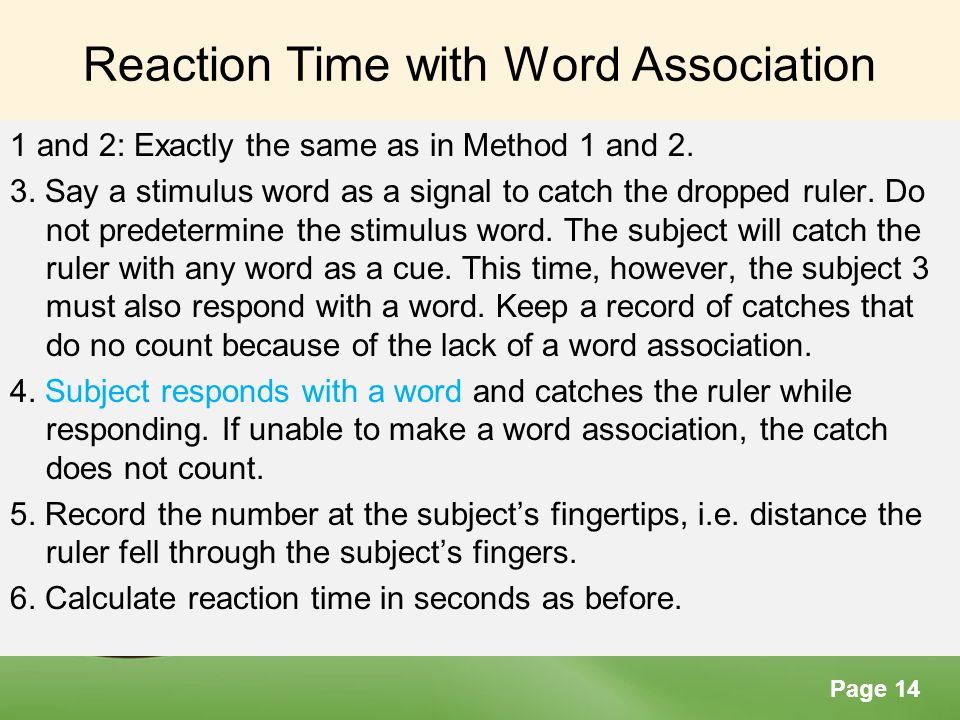 Reaction Time with Word Association
