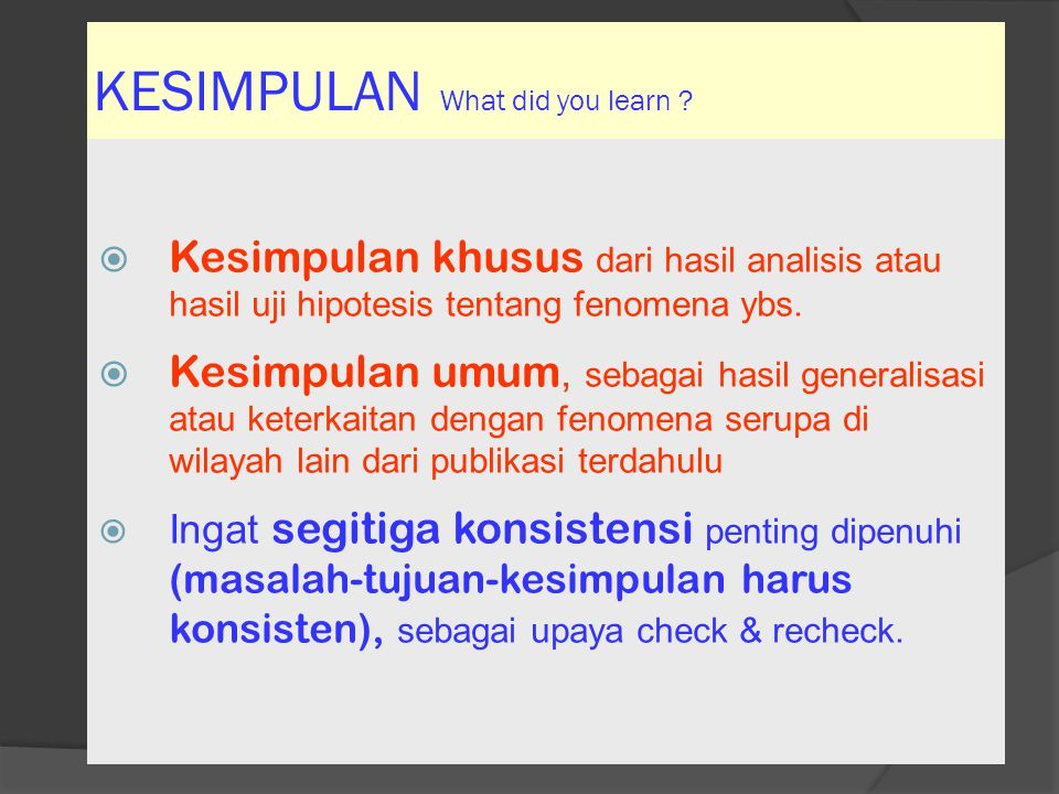 KESIMPULAN What did you learn