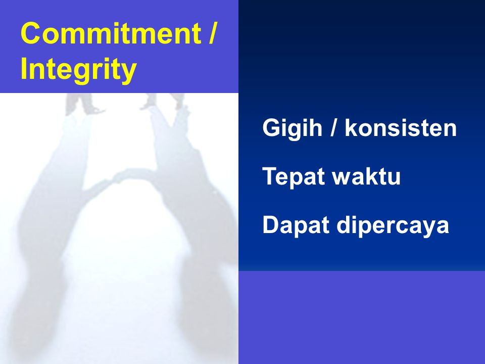 Commitment / Integrity Gigih / konsisten Tepat waktu Dapat dipercaya