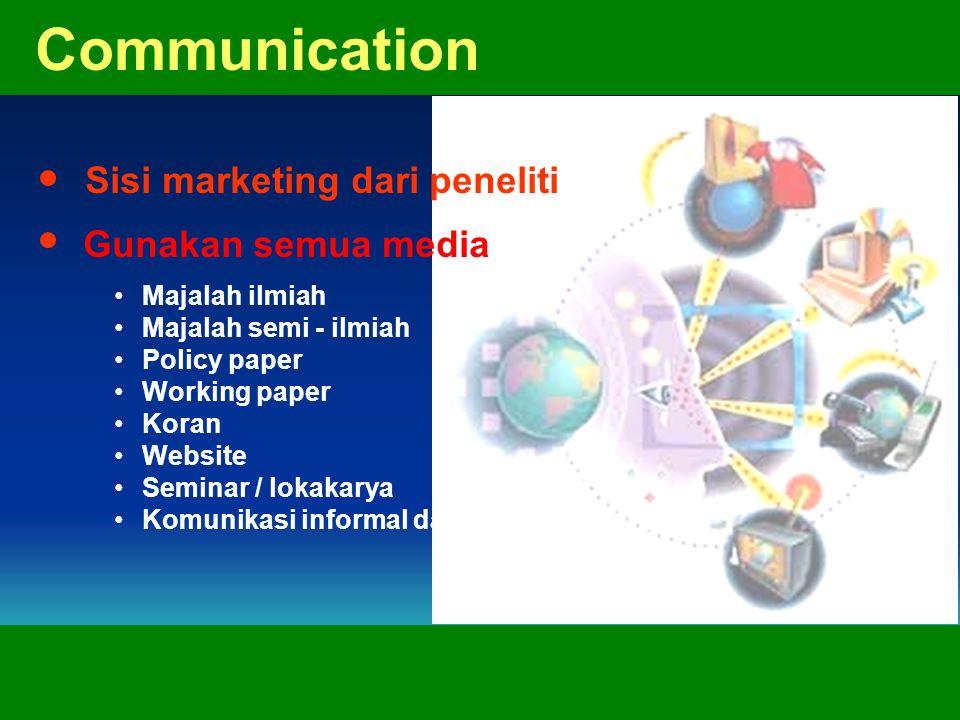 Communication Sisi marketing dari peneliti Gunakan semua media