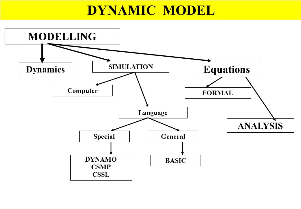 DYNAMIC MODEL MODELLING Equations Dynamics ANALYSIS SIMULATION