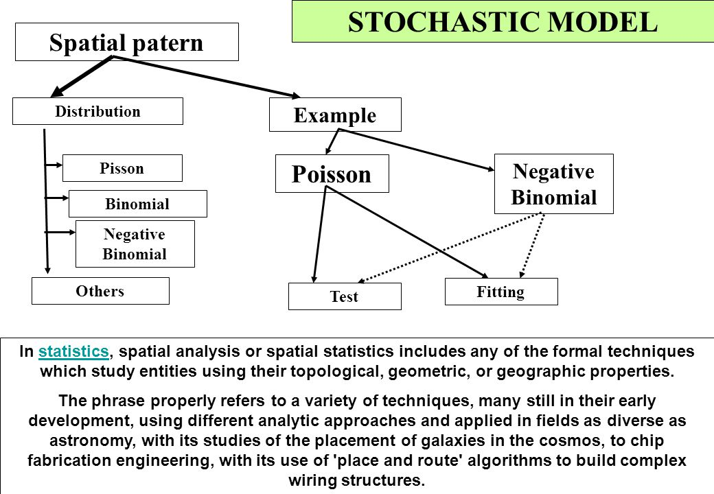 STOCHASTIC MODEL Spatial patern Poisson Example Negative Binomial
