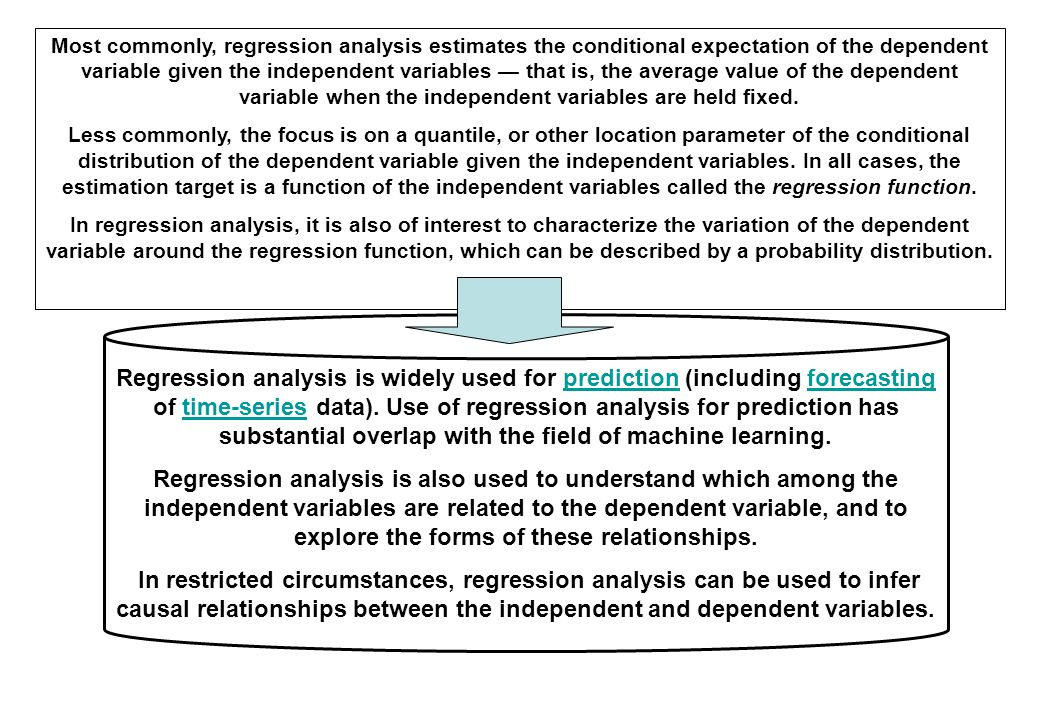 Most commonly, regression analysis estimates the conditional expectation of the dependent variable given the independent variables — that is, the average value of the dependent variable when the independent variables are held fixed.
