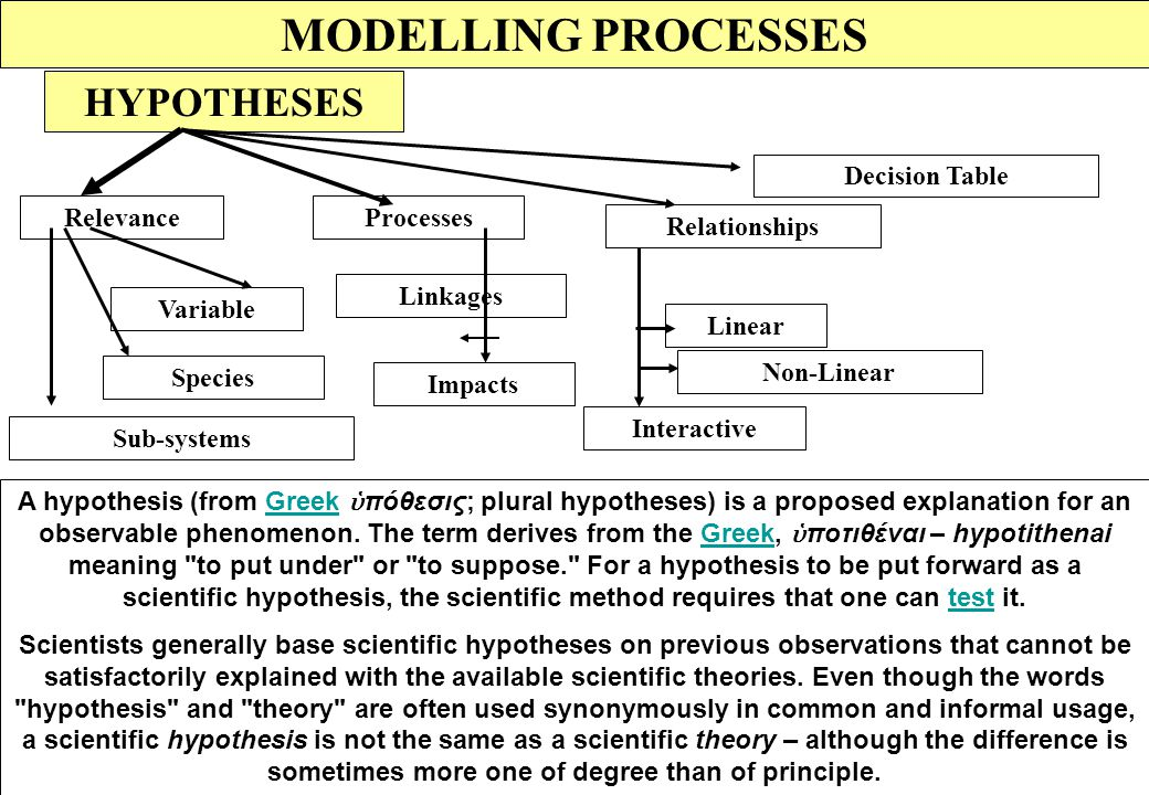 MODELLING PROCESSES HYPOTHESES Decision Table Relevance Processes