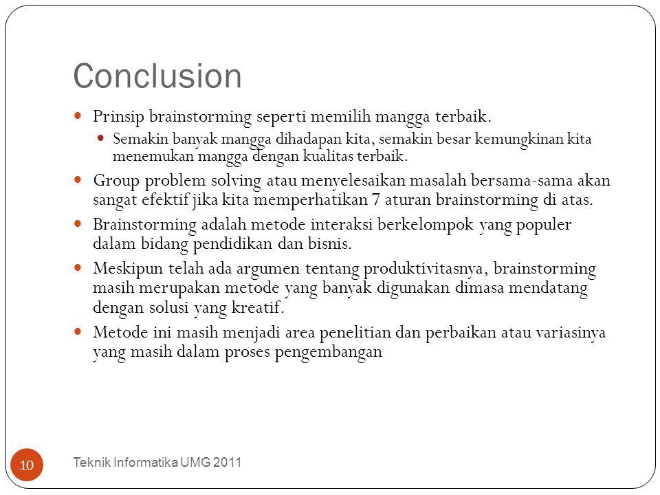 Conclusion Prinsip brainstorming seperti memilih mangga terbaik.
