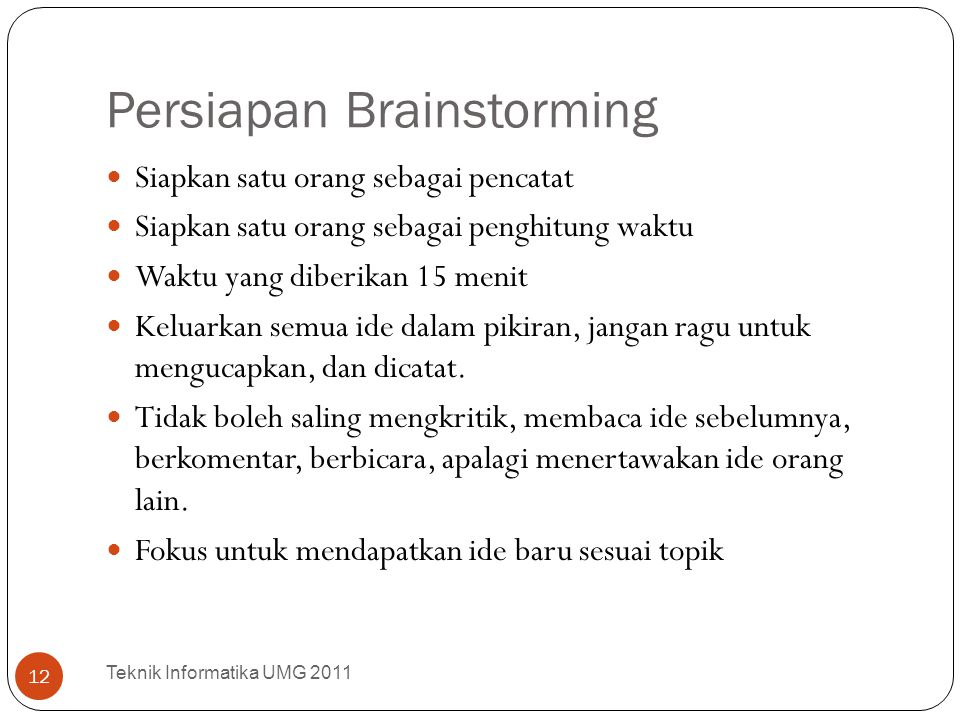 Persiapan Brainstorming