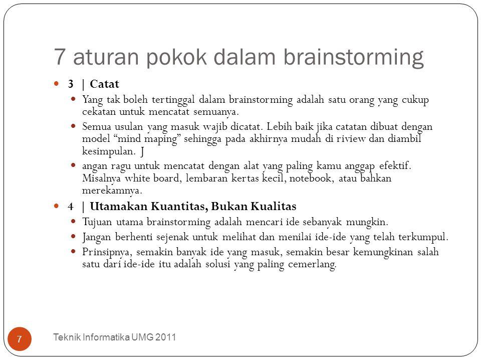 7 aturan pokok dalam brainstorming