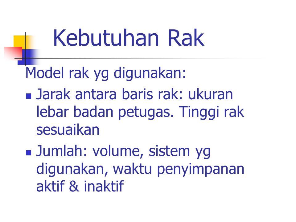 Kebutuhan Rak Model rak yg digunakan: