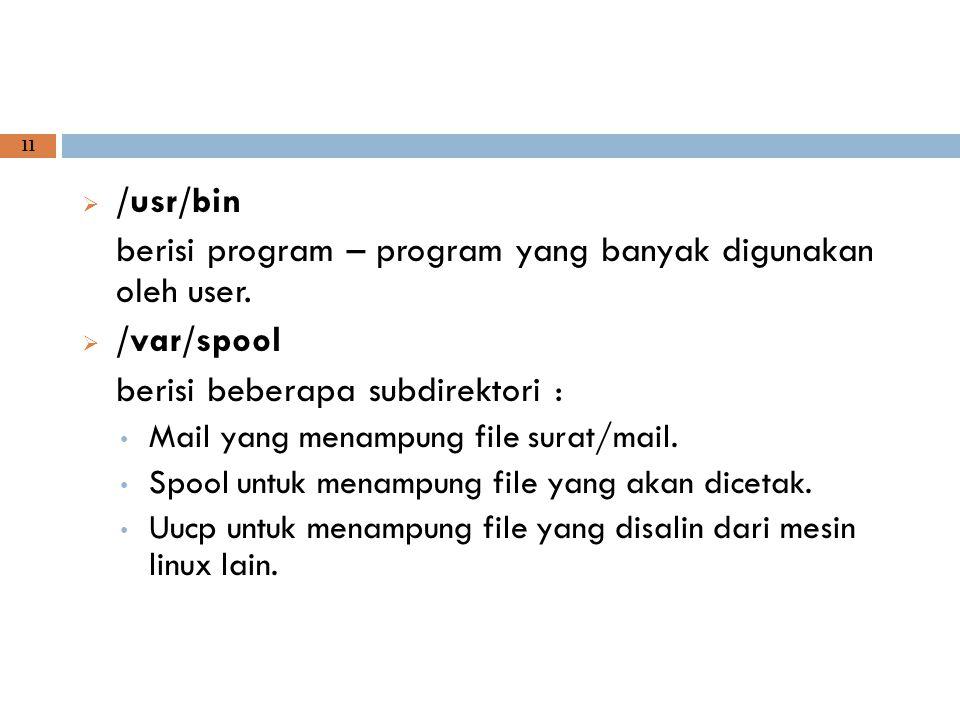 berisi program – program yang banyak digunakan oleh user. /var/spool