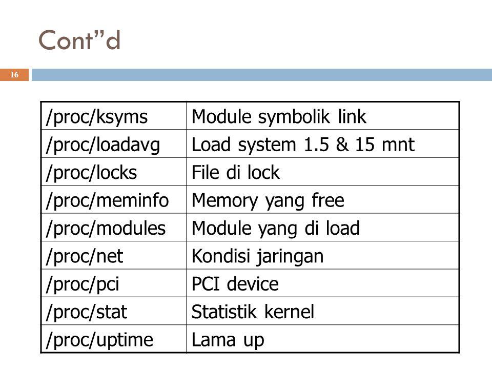 Cont d /proc/ksyms Module symbolik link /proc/loadavg