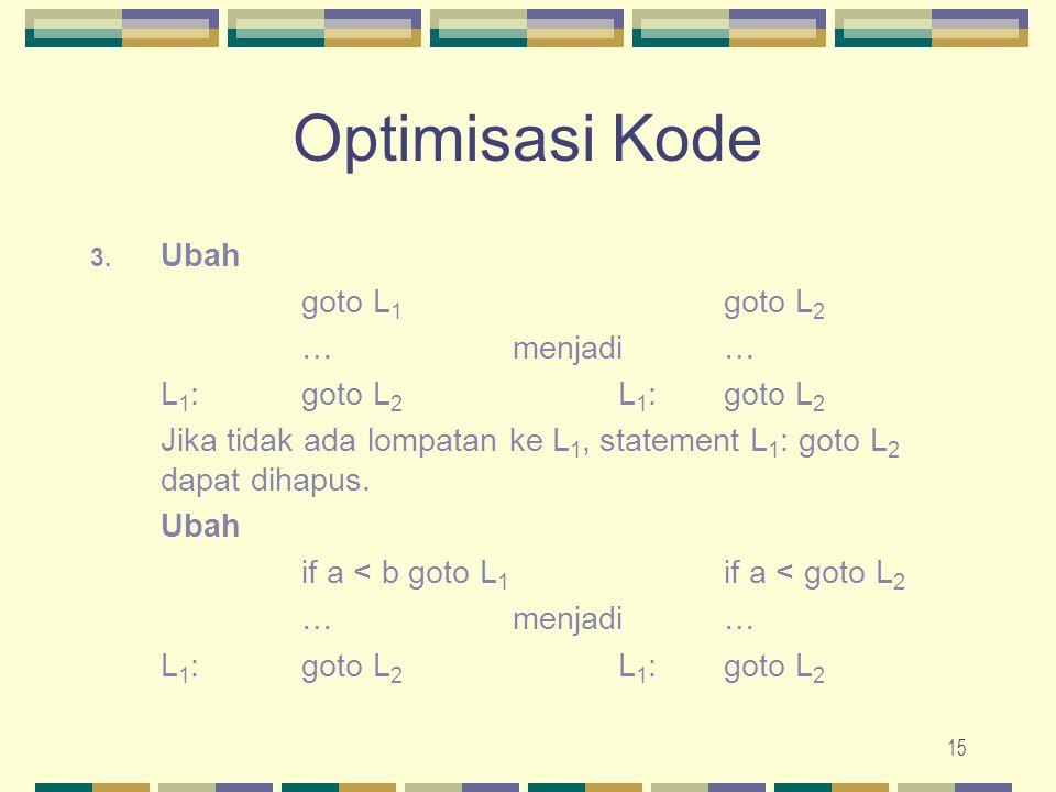 Optimisasi Kode Ubah goto L1 goto L2 … menjadi …