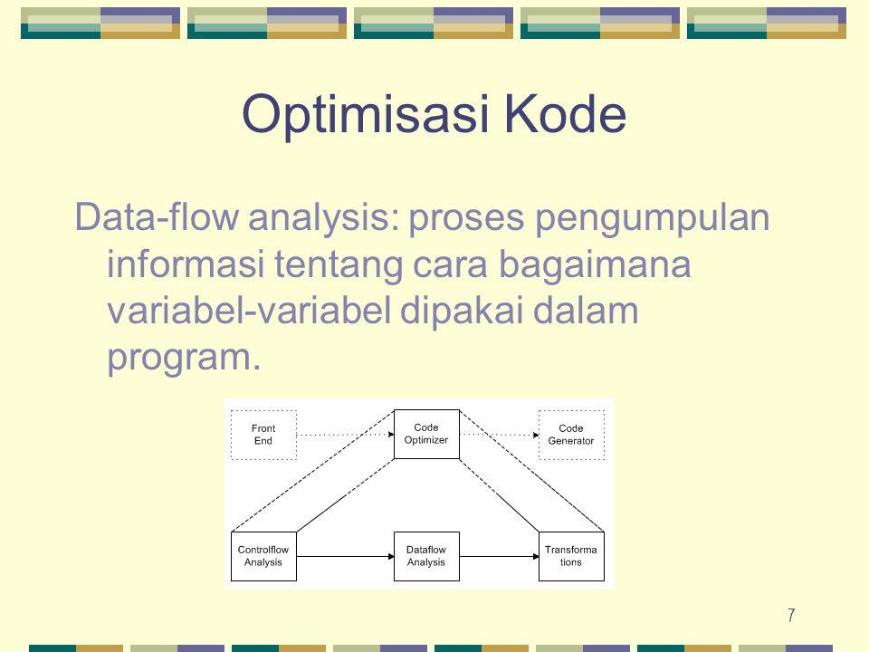 Optimisasi Kode Data-flow analysis: proses pengumpulan informasi tentang cara bagaimana variabel-variabel dipakai dalam program.