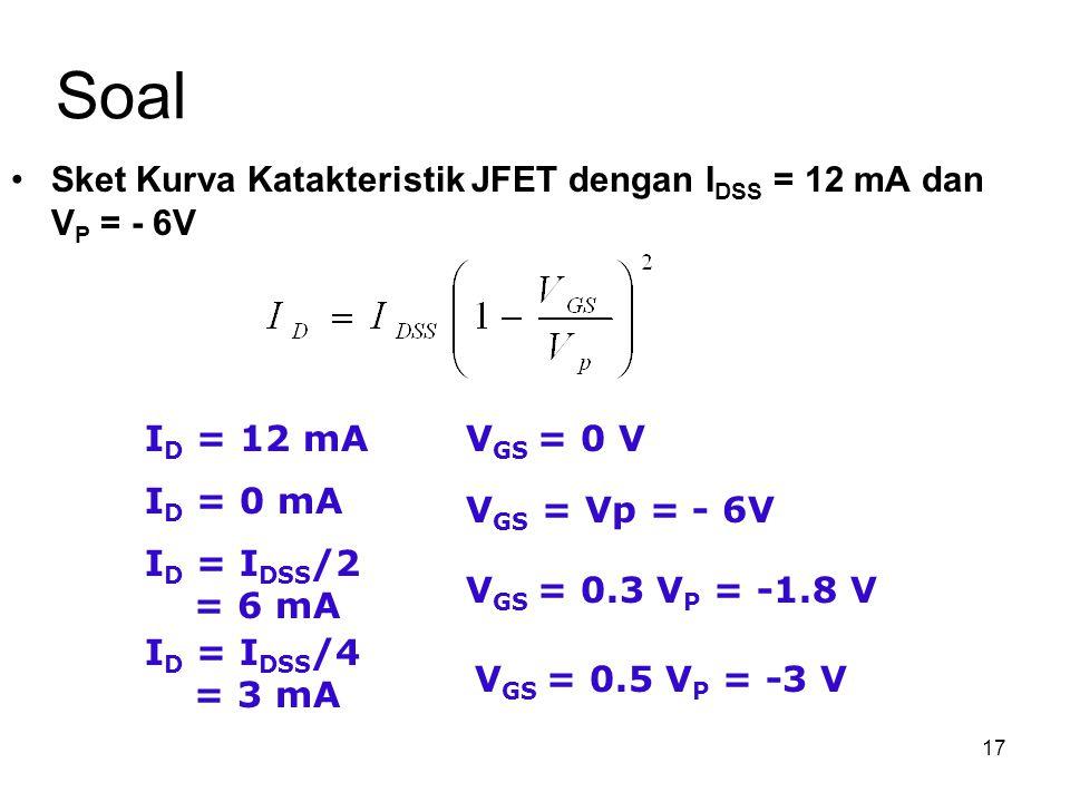 Soal Sket Kurva Katakteristik JFET dengan IDSS = 12 mA dan VP = - 6V