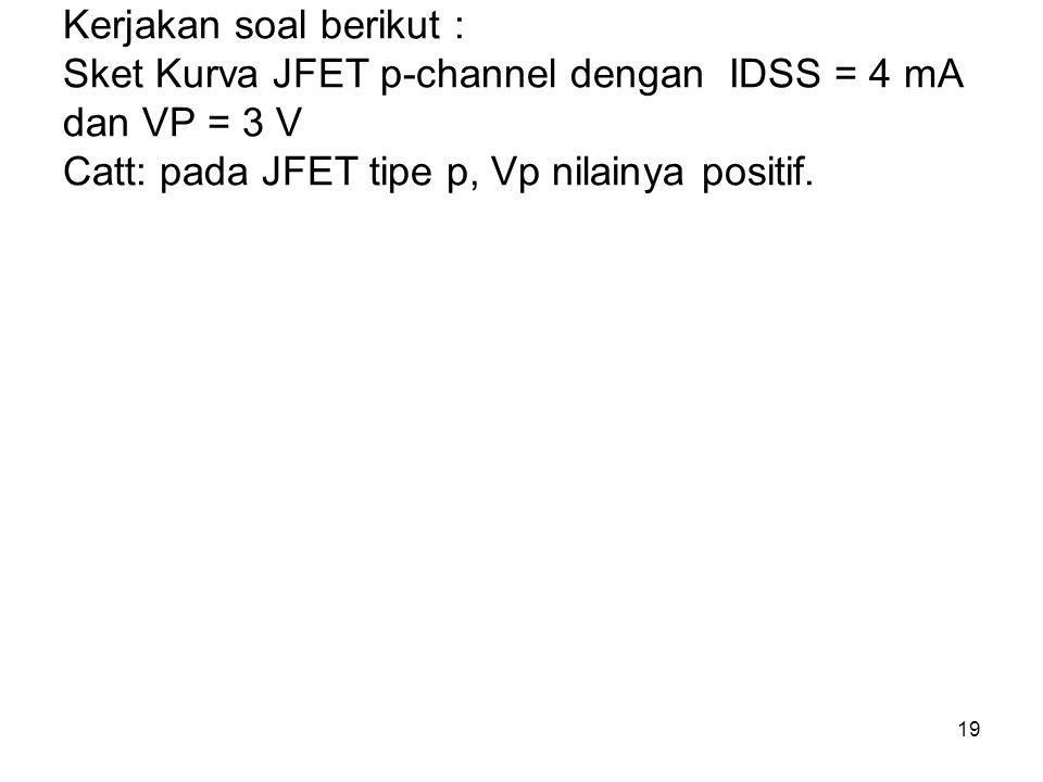 Kerjakan soal berikut : Sket Kurva JFET p-channel dengan IDSS = 4 mA dan VP = 3 V Catt: pada JFET tipe p, Vp nilainya positif.