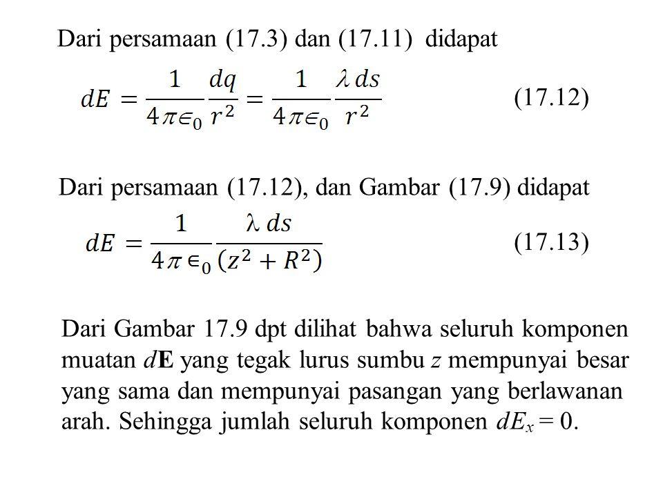 Dari persamaan (17.3) dan (17.11) didapat