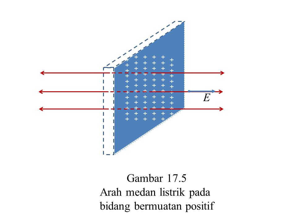 Arah medan listrik pada bidang bermuatan positif