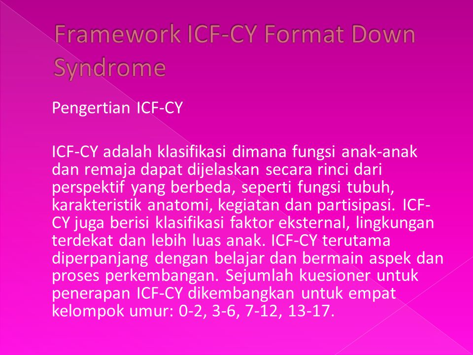 Framework ICF-CY Format Down Syndrome
