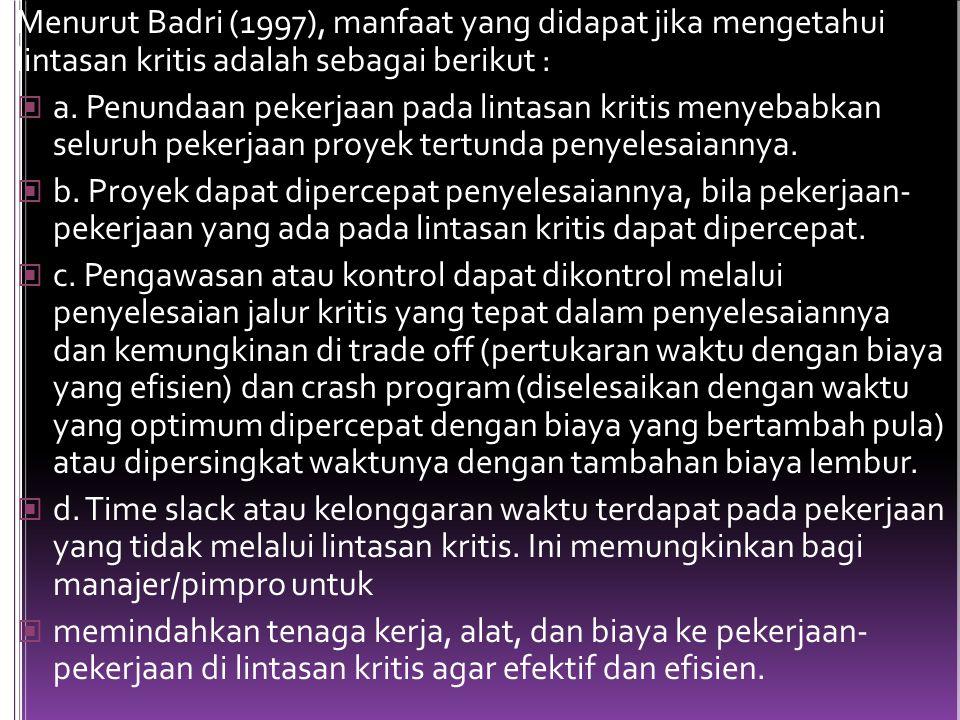 Menurut Badri (1997), manfaat yang didapat jika mengetahui lintasan kritis adalah sebagai berikut :