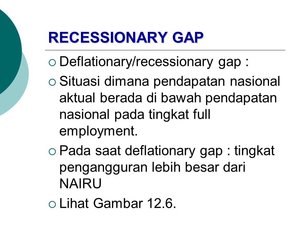 RECESSIONARY GAP Deflationary/recessionary gap :