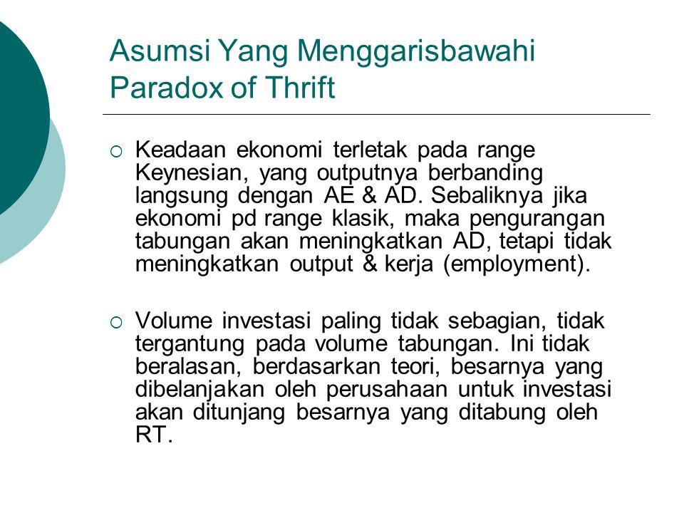 Asumsi Yang Menggarisbawahi Paradox of Thrift