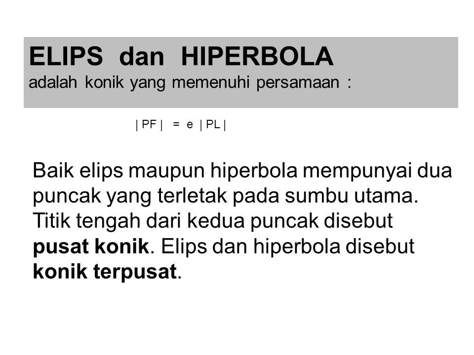 ELIPS dan HIPERBOLA adalah konik yang memenuhi persamaan : | PF | = e | PL |