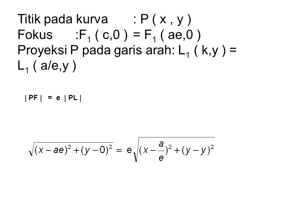 Titik pada kurva : P ( x , y ) Fokus :F1 ( c,0 ) = F1 ( ae,0 )