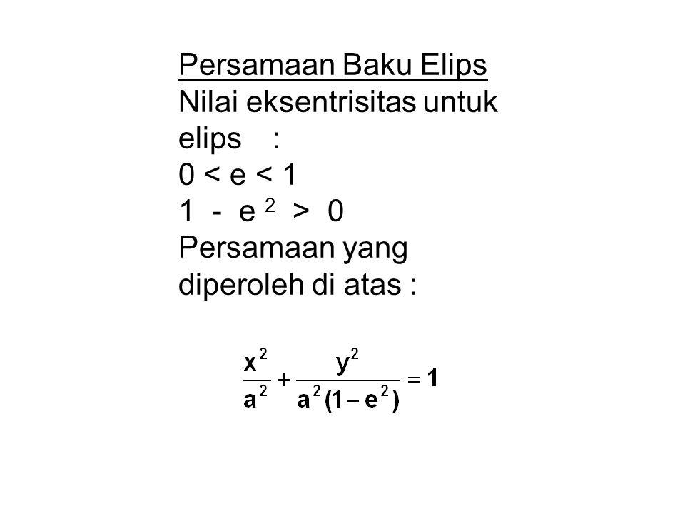 Persamaan Baku Elips Nilai eksentrisitas untuk elips : 0 < e < 1.