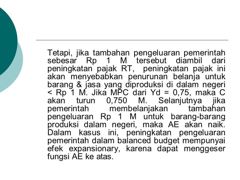 Tetapi, jika tambahan pengeluaran pemerintah sebesar Rp 1 M tersebut diambil dari peningkatan pajak RT, peningkatan pajak ini akan menyebabkan penurunan belanja untuk barang & jasa yang diproduksi di dalam negeri < Rp 1 M.