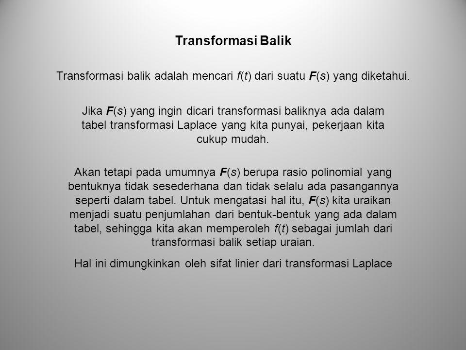Transformasi Balik Transformasi balik adalah mencari f(t) dari suatu F(s) yang diketahui.