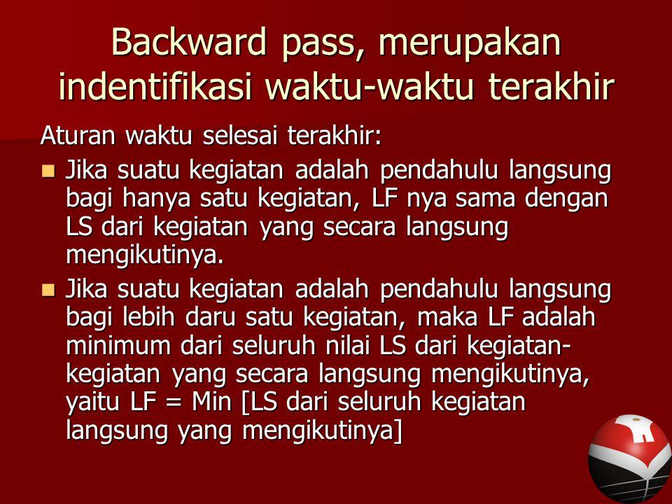 Backward pass, merupakan indentifikasi waktu-waktu terakhir