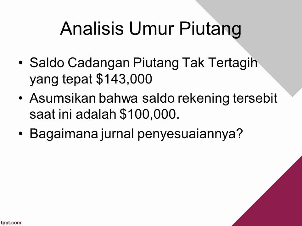 Analisis Umur Piutang Saldo Cadangan Piutang Tak Tertagih yang tepat $143,000. Asumsikan bahwa saldo rekening tersebit saat ini adalah $100,000.