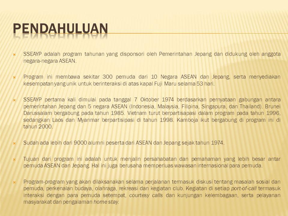 PENDAHULUAN SSEAYP adalah program tahunan yang disponsori oleh Pemerintahan Jepang dan didukung oleh anggota negara-negara ASEAN.