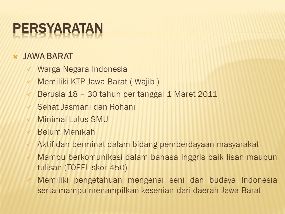 PERSYARATAN JAWA BARAT Warga Negara Indonesia