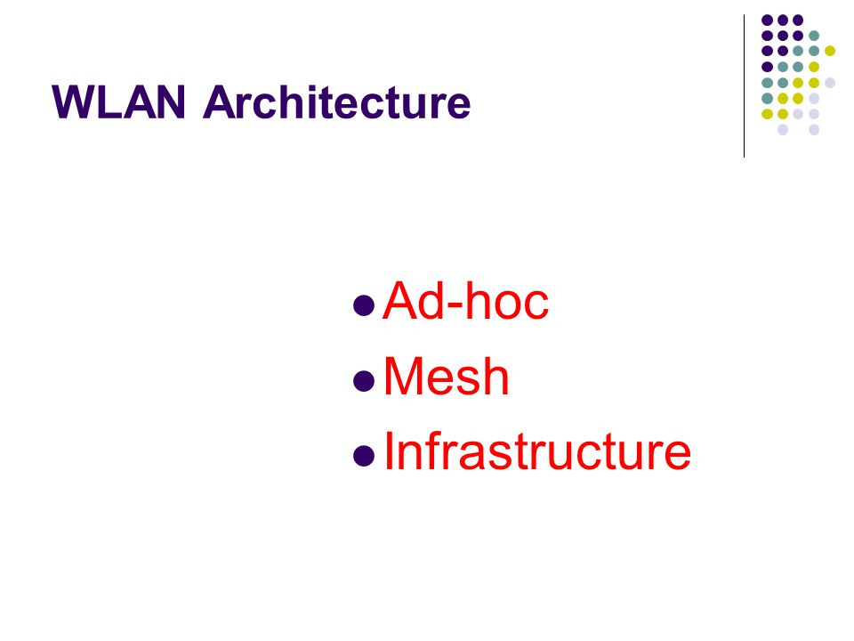 WLAN Architecture Ad-hoc Mesh Infrastructure