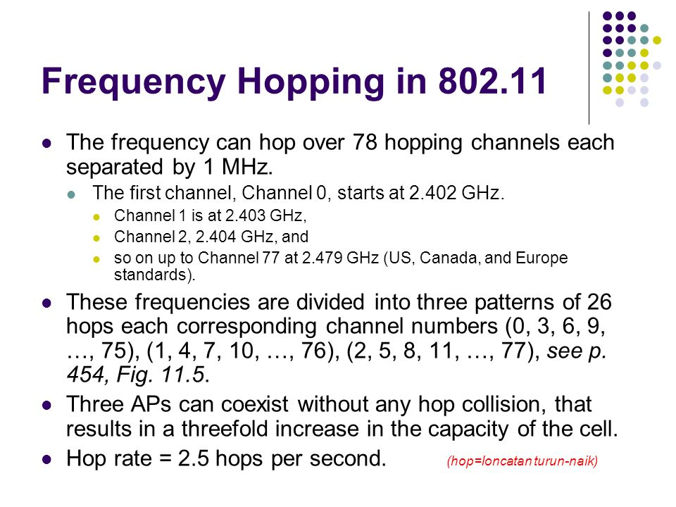 Frequency Hopping in 802.11 The frequency can hop over 78 hopping channels each separated by 1 MHz.