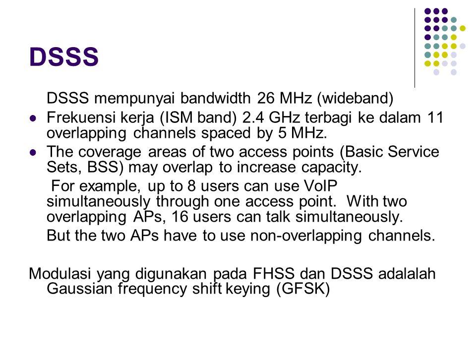 DSSS DSSS mempunyai bandwidth 26 MHz (wideband)