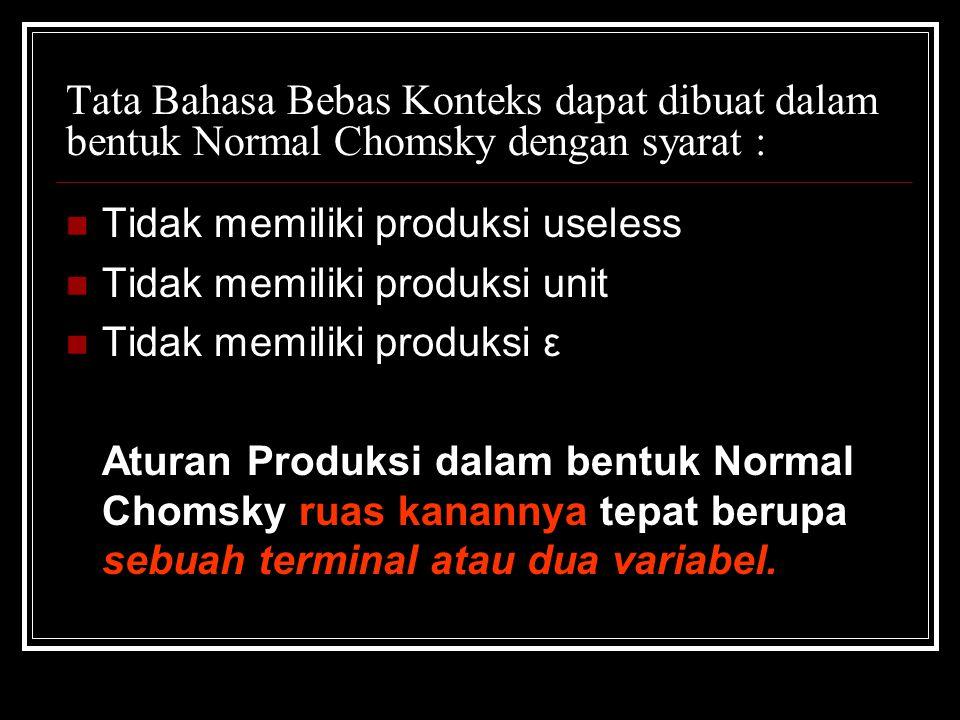 Tata Bahasa Bebas Konteks dapat dibuat dalam bentuk Normal Chomsky dengan syarat :