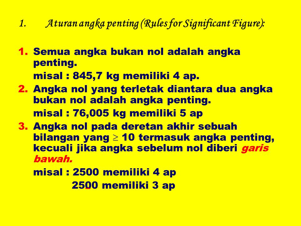Aturan angka penting (Rules for Significant Figure):