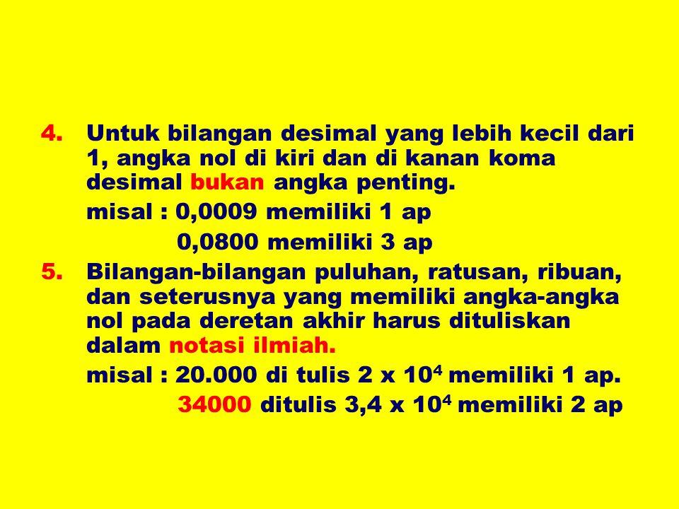 Untuk bilangan desimal yang lebih kecil dari 1, angka nol di kiri dan di kanan koma desimal bukan angka penting.