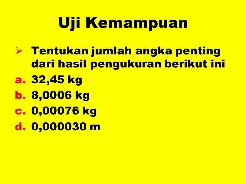 Uji Kemampuan Tentukan jumlah angka penting dari hasil pengukuran berikut ini. 32,45 kg. 8,0006 kg.