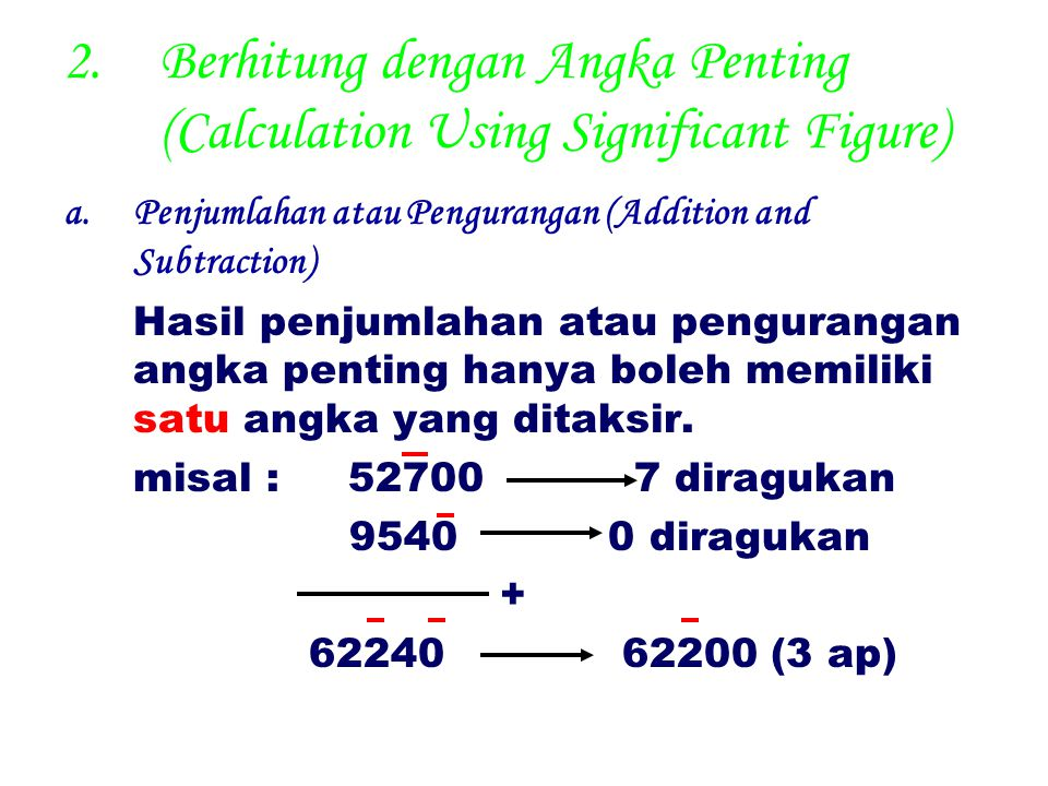 Berhitung dengan Angka Penting (Calculation Using Significant Figure)