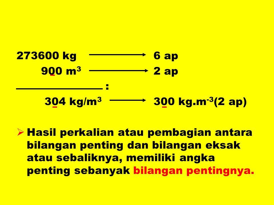 273600 kg 6 ap 900 m3 2 ap. : 304 kg/m3 300 kg.m-3(2 ap)