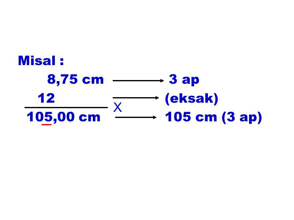 Misal : 8,75 cm 3 ap 12 (eksak) 105,00 cm 105 cm (3 ap) X