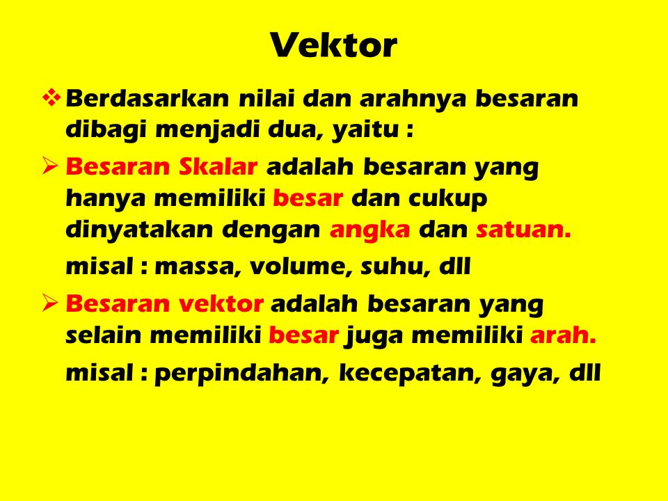 Vektor Berdasarkan nilai dan arahnya besaran dibagi menjadi dua, yaitu :