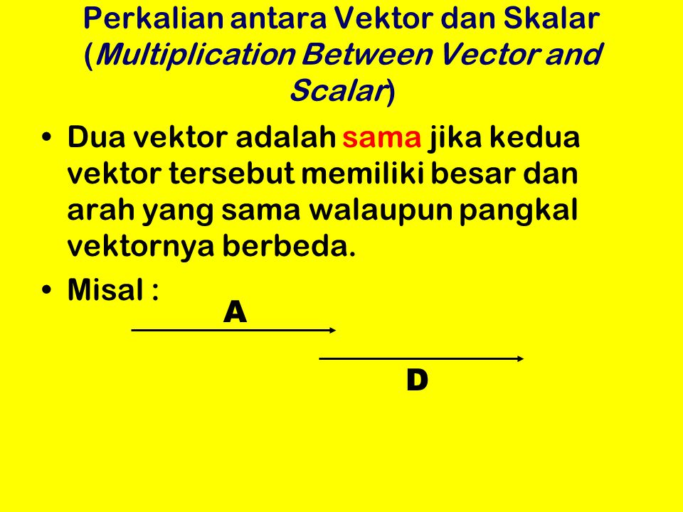 Perkalian antara Vektor dan Skalar (Multiplication Between Vector and Scalar)